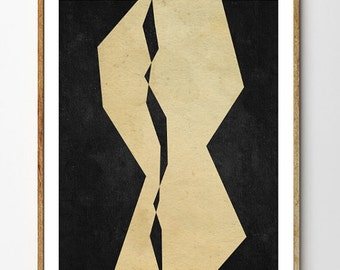 Fraction - Geometric Print, Minimalist Art, Modern Poster, Scandinavian Design, Sci fi Art, Mixed Media Collage, Wall Art