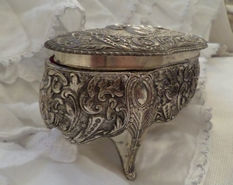 Vintage Ornate Details French Jewelry Box Shabby Chic Silver Patina Paris Apartment