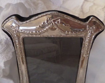 Vintage French Ornate Silver Bows Swags Picture Frame Paris Apartment