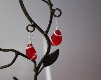 Red Recycled Glass Earrings