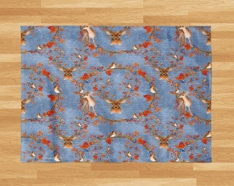 Woodland Deer Area Rug or Throw Rug , Blue with Birds