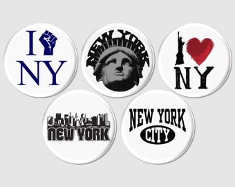 5 New York City Buttons or Fridge Magnets, Statue of Liberty Pins, NYC Pinback Favor, NYC Theme Party Gift, I Love New York Badge, - BB2110