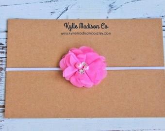 petite light pink flower headband, baby headband