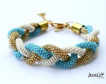 Beaded Crochet Rope Braid Bracelet Delicate Elegance Handmade Jewelery IneseLoft