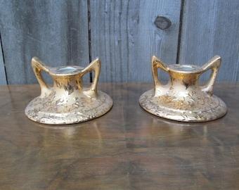 1950's Dixon Art Studio 22k Gold Glazed Candle Holders ~ Mid Century ~ Hollywood Regency