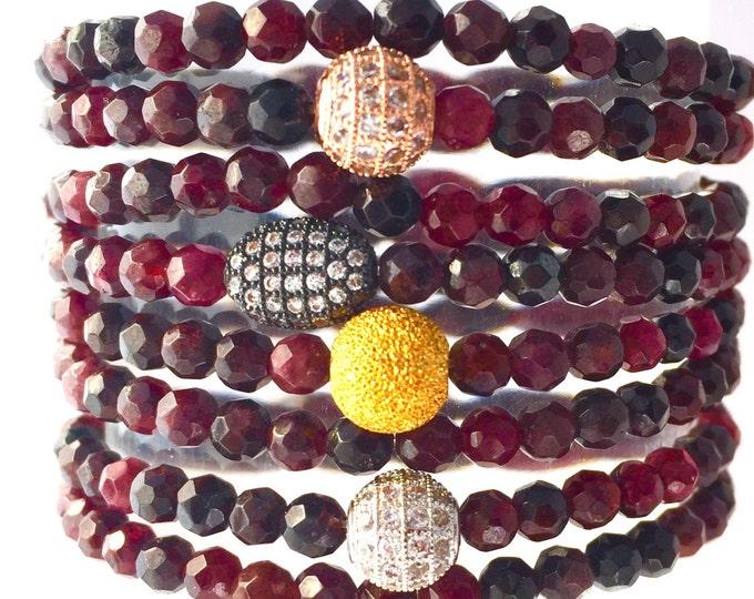 January Birthstone, Red Garnet Bracelet, Double Wrap Gemstone Slip on Bracelet