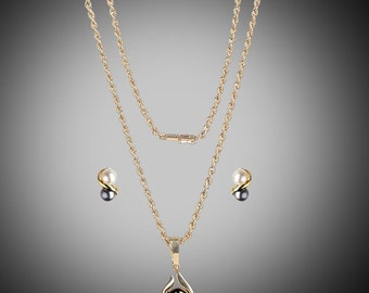 South Pacific black cultured pearl necklace & earrings set in 14k
