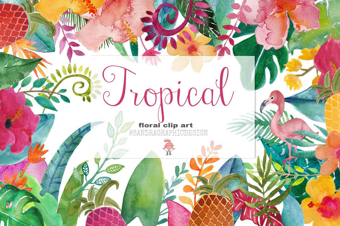 Tropical flowers clip art, hand painted floral watercolor ...