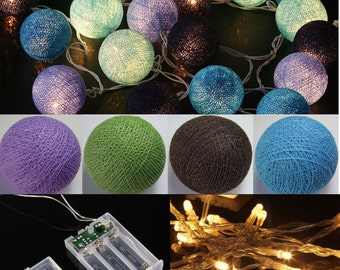 Battery Operated 20 Ocean Blue mix Cotton Ball String Light Hot colors