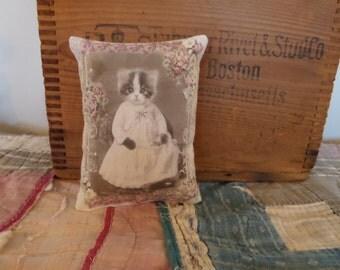 Victorian Kitten Doll Pillow  Handmade