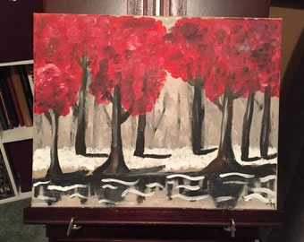 Red Forest — 11x14 acrylic painting