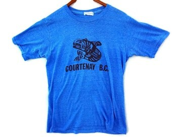 Vintage 70s Courtenay BC Canada Native American Coast Salish Whale Tee - Small - Vintage Tees - Mens Tee - Tshirts - T-Shirts -