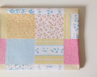 1960's tablecloth, patchwork print fabric cotton vintage table cover in pastel colours