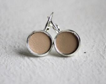 beige leather earrings