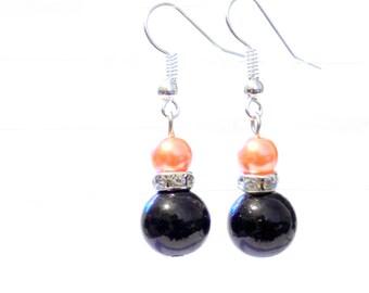 Black and orange pearl earrings, orange pearl earrings, black pearl earrings, pearl earrings, earrings, dangle earrings, drop earrings