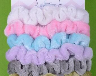 6pcs Pack Velour New Girls Elastic Hair Ties Scrunchies Ponytail Holder Hair Accessories Mini size//scrunchie