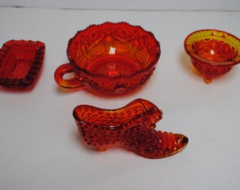 4 Lot Vintage  FENTON Orange Glass