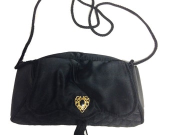 Black Satin Evening Purse with Gold Embellished Clasp
