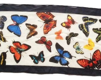 Butterfly Semi-Sheer Silk Oblong Scarf