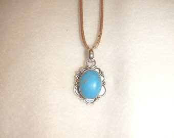 PAY IT FORWARD - Copper Blue Turquoise (Magnesite) pendant necklace set in .925 sterling silver (P424)