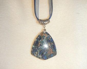 Dark Blue Sea Sediment Jasper with Pyrite pendant (JO404)