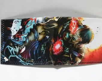 mortal kombat - recycled comic book wallet - slim wallet - hanmade wallet - card holder - thin wallet - vinyl wallet - men's wallet