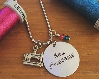 Sew Awesome Hand Stamped Necklace