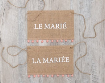 Lot de 2 pancartes de chaises jute et pompon - Set of  2 chair placard burlap and pompom