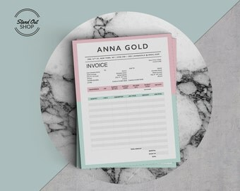 Anna Gold Professional Modern Invoice Template for Microsoft Word & Apple Pages