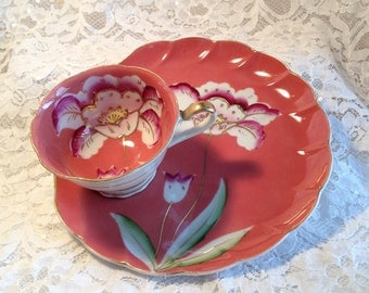 Tropical Flower Plate With Integral Tea Cup Snack Set, No Maker's Mark, Possibly Post War Japan.