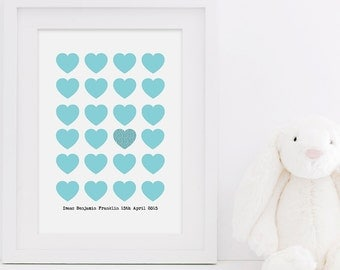 New Baby Love Heart Print - New Baby Print - Baby Boy Print - Baby Girl Print - Personalised Print - Nursery Print - Custom Baby Print
