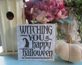 "Wood Halloween Sign, ""Witching You a Happy Halloween"", Halloween Home Decorations"