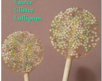 Easter Glitter Lollipop Favors Spring Lollipops Wedding Favors set of 6