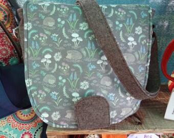 Handmade Hedgehog themed handbag - lots of pockets and adjustable strap