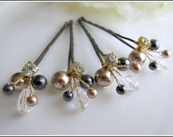 Bridal Hair Pins, Wedding Hair Accessories, Swarovski Gold Black Pearl Wedding Hair Pins Set of 4 Hair Pins, Floral Vine Hair Pin Hairdo