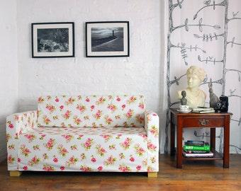 ikea solsta sofa bed slip cover in white rose garden fabric