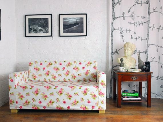 Housse ikea solsta canap lit en tissu blanc rose garden - Canape rose ikea ...