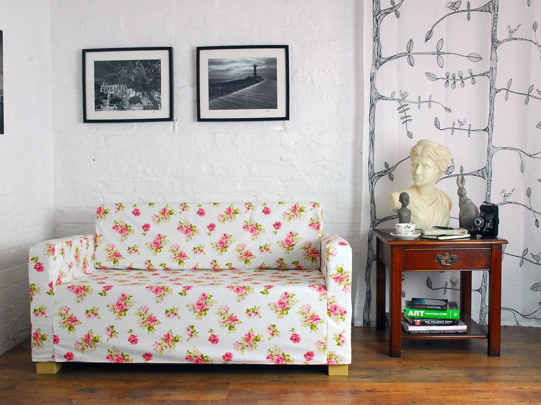 ikea solsta sofa bed slip cover in white rose garden fabric. Black Bedroom Furniture Sets. Home Design Ideas