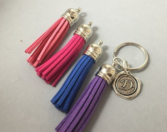 Tassle Monogram Personalized Initial  Keychain Bridesmaids Gifts Mother Gifts Tassle Keychains