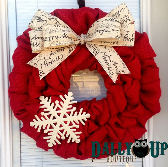 Christmas burlap wreath winter wreath red with merry Burlap xmas wreath