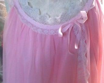 Vintage 1960s Pink Babydoll Nightgown Size Medium, Lingerie, Sheer Chiffon, Rose Quartz