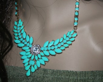 Turquoise Statement Necklace, Bib Necklace, Gold-tone