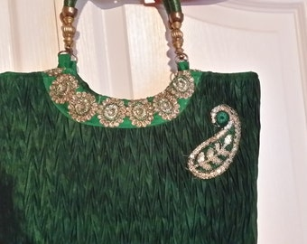 Evening purse silk emerald green embroidered