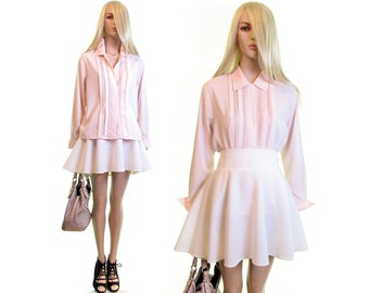 pretty in pink blouse 80s blouse button up down shirt blouse boho shirt hipster hippie poet sleeve secretary dress blouse secretary blouse m