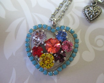 Swarovski Crystals heart necklace - Pendant Heart Necklace - cup chain necklace