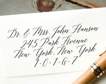 Self-Inking Calligraphy Address Stamp, Custom Retun Address Stamp, Wedding Envelope Addressing, Custom Calligraphy Stamp