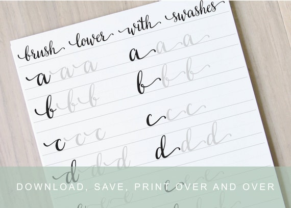 Brush lettering worksheets lower with swashes