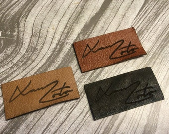 60 custom genuine leather tags/labels
