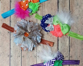 Feathery Headband Bows