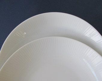 "Vintage Seltmann Weiden ""Monika"" Bowls set of 2 | white porcelain, ribbed border, all white china, bavarian porcelain, soup bowl, pasta bowl"